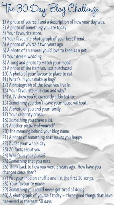 30 Day Writing Challenge List 30 Day Blog Challenge 2012